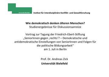 Vortrag von Prof. Dr. Andreas Zick - Friedrich-Ebert-Stiftung