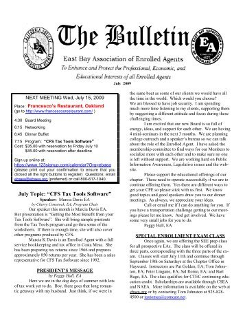July 2009 Bulletin - East Bay Association of Enrolled Agents