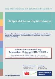 Heilpraktiker Physiotherapie 1-2013 - Volkshochschule Meppen