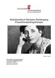 Modulhandbuch Bachelor-Studiengang Physiotherapie/Ergotherapie