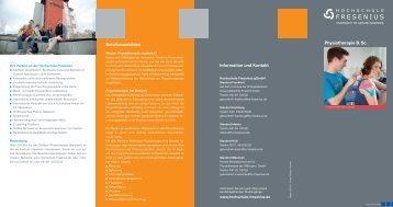 Physiotherapie B. Sc. Berufsaussichten Information und Kontakt