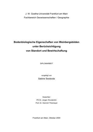 Bodenbiologische Eigenschaften von Weinbergsböden unter ...