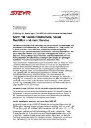 Steyr mit neuem Händlernetz, neuen Modellen und mehr Service