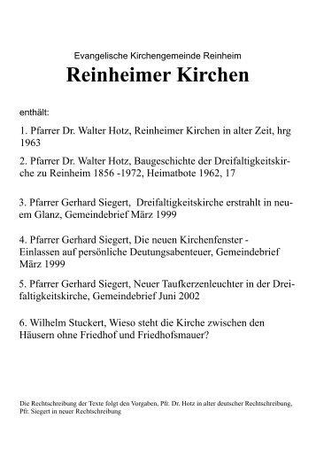 Geschichte der evangelischen Kirchen in Reinheim
