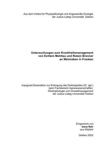 Untersuchungen zum Krankheitsmanagement von Echtem Mehltau ...