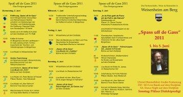 """""""Spass uff de Gass"""" 2011 1. bis 5. Juni - Weisenheim am Berg"""