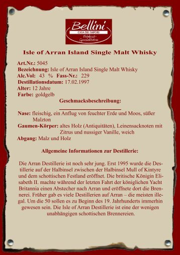Isle of Arran Island Single Malt Whisky Alc.Vol