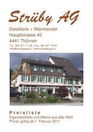 Destillerie + Weinhandel Hauptstrasse 40 4441 Thürnen ... - Strüby AG