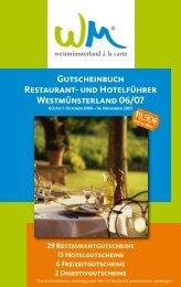 Gutscheinbuch Restaurant- und Hotelführer Westmünsterland 06/07
