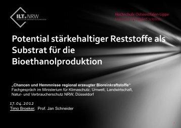 Timo Broeker, Ethanol aus Reststoffen