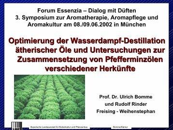 Optimierung der Wasserdampf-Destillation ätherischer Öle und ...