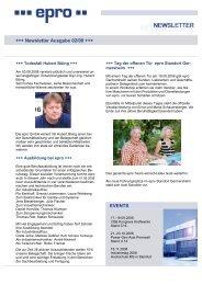 +++ Newsletter Ausgabe 02/08 +++ EVENTS - epro GmbH
