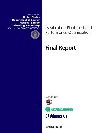 Gasification Plant Cost and Performance Optimization Task 1