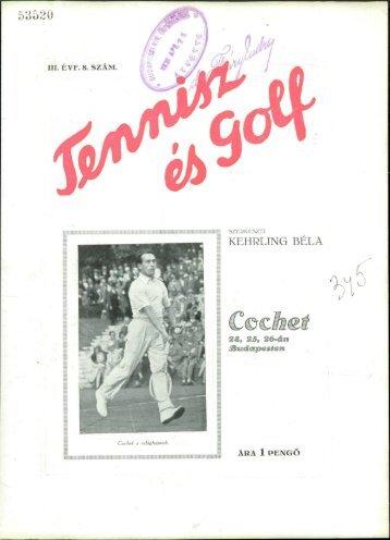 Tennisz és golf 3. évf. 8. sz. (1931. április 20.) - EPA