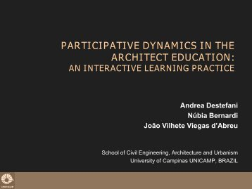 participative dynamics in the architect education - UD E-World