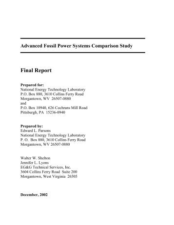 Advanced Fossil Power Systems Comparison Study - National ...