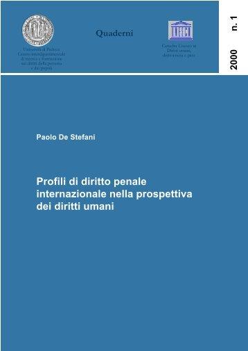 Paolo De Stefani, Profili di diritto penale internazionale nella ...
