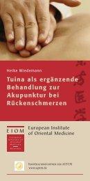 Tuina als ergänzende Behandlung zur Akupunktur bei ...
