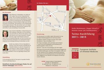 Flyer Tuina Ausbildung - EIOM Institut für Chinesische Medizin in ...
