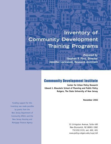 Inventory of Community Development Training Programs - Bloustein ...