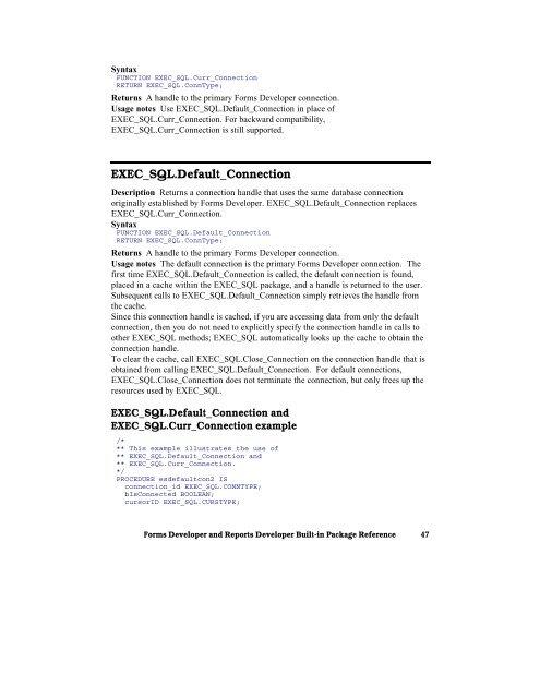 EXEC_SQL Open_Connection