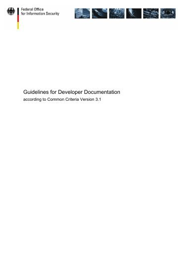 Guidelines for Developer Documentation - Bundesamt für Sicherheit ...