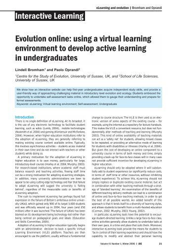 Evolution online: using a virtual learning environment to develop ...