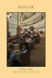 GRADUATE CATALOG - Baylor University