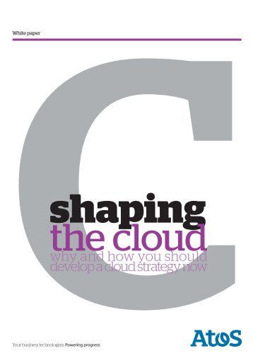 White paper: Shaping the cloud why and how you should develop a ...