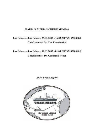 MARIA S. MERIAN-CRUISE MSM04/4 Las Palmas - Institute of ...