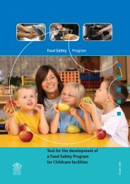 Tool for the development of a Food Safety Program for childcare ...