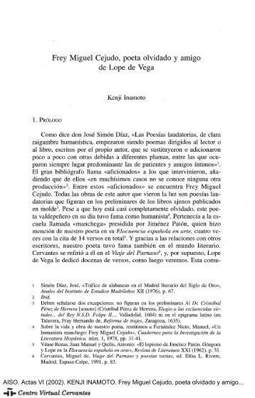 Frey Miguel Cejudo, poeta olvidado y amigo de Lope de Vega
