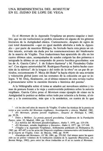 una reminiscencia del moretum en el isidro de lope ... - InterClassica