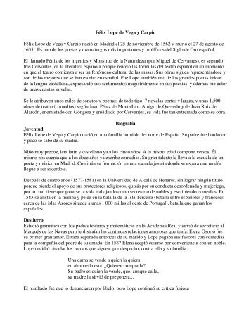 Lope de Vega biografia - SantamariaWeb > Home page