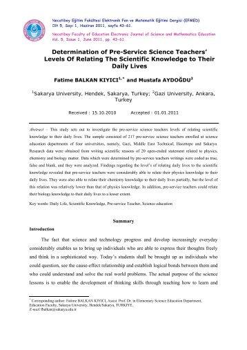 Tam Metin: pdf - Necatibey Eğitim Fakültesi
