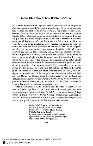 """Actas III. AIH. Lope de Vega y las damas doctas. SIMÃ""""N A. VOSTERS"""