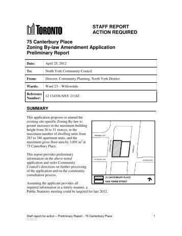 Staff Report Action Required       City Of Toronto