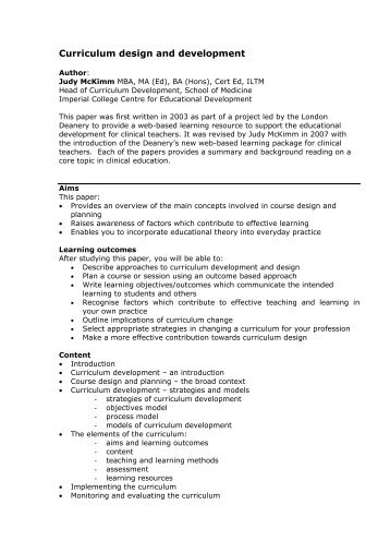 Curriculum development module - Faculty Development - London ...