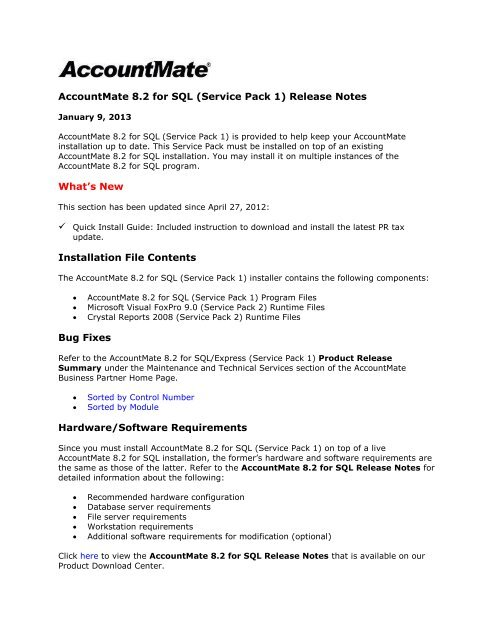 AM8 2 for SQL (SP1) Release Notes - AccountMate Software