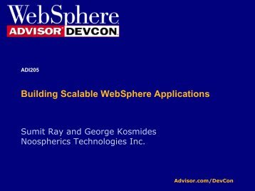 Building Scalable WebSphere Applications - Noospherics