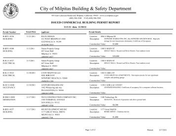 Issued Commercial Building Permit Report ... - City of Milpitas