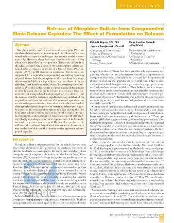 Release of Morphine Sulfate from Compounded Slow ... - Stabilis