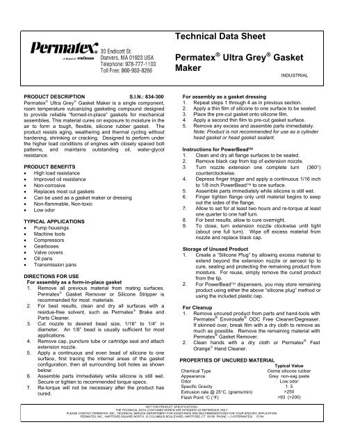 Technical Data Sheet Permatex Ultra Grey Gasket Maker - Devcon