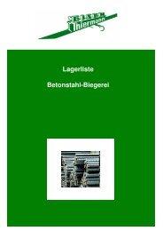 Lagerliste Biegerei - Eisen Thiermann