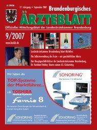 Brandenburgisches Ärzteblatt 09/2007 - Landesärztekammer ...