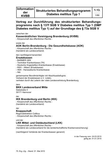 Information der KVBB Strukturiertes Behandlungsprogramm ...