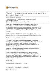 POL-KS: Vermisstensuche: 68-jähriger Karl Ernst Siebert ... - Firmendb