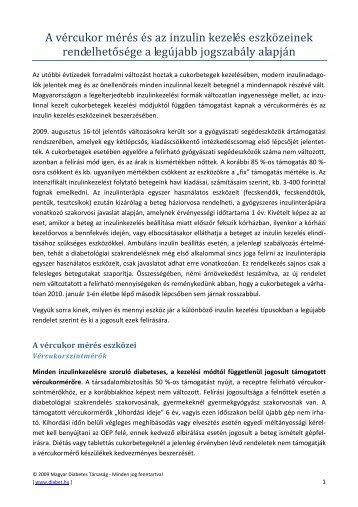 A vércukor mérés és az inzulin kezelés eszközeinek - Magyar ...
