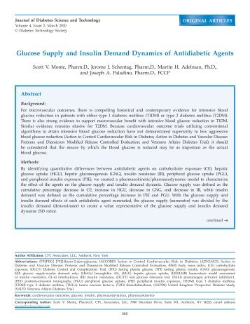 Glucose Supply and Insulin Demand Dynamics of Antidiabetic Agents