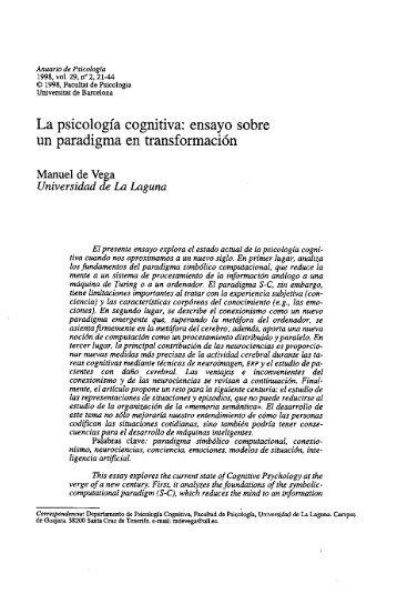 La psicología cognitiva: ensayo sobre un paradigma en ...